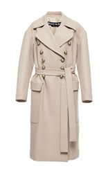 Rochas Military Style Double Breasted Coat Neutral