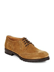 Harry's Of London Suede Wingtip Lace Up Oxfords Fawn