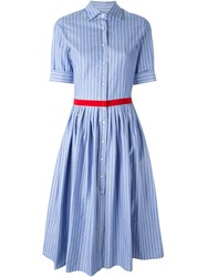 Alberto Biani Striped Shirt Dress Blue