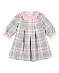 Florence Eiseman Plaid Long Sleeve Dress W Embroidered Flowers Size 2 4 Gray Pink