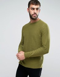 Only And Sons Knitted Jumper With Textured Roll Hem Loden Green