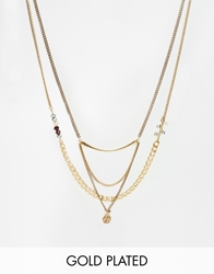 Pilgrim Gold Plated Bohemian Multirow Necklace