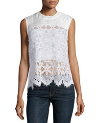 Frame Denim Le Lace Sleeveless Top Blanc Size M