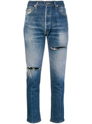 Re Done Distressed Cropped Jeans Blue