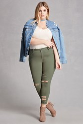 Forever 21 Plus Size Distressed Jeans Olive