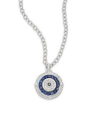 Judith Ripka Lucky Blue White And Black Sapphire Evil Eye Large Pendant Necklace Silver Blue