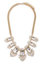 Forever 21 Faux Gemstone Statement Necklace Gold Clear