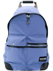 Eastpak Top Zip Backpack Polyester Leather Blue