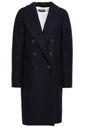 Piazza Sempione Woman Oversized Double Breasted Wool Blend Felt Coat Midnight Blue