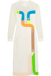 Peter Pilotto Track Embroidered Tulle And Wool Blend Crepe Dress White