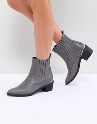 Missguided Heeled Western Boot Grey