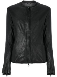Giorgio Brato Collarless Zip Up Jacket Silk Leather Polyester Spandex Elastane Black