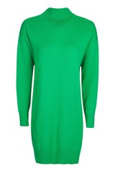 Topshop Knitted V Detail Sweater Dress Green