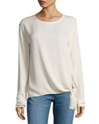 Theory Serah Classic Georgette Tie Side Top White