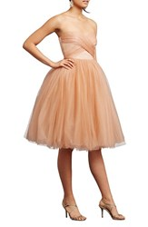Women's Donna Morgan 'Kenna' Strapless Tulle Fit And Flare Dress Feather
