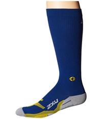 2Xu Flight Compression Socks Navy Yellow Men's Knee High Socks Shoes