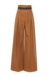 Martin Grant Caramel Pleated High Waisted Wide Leg Pants Brown