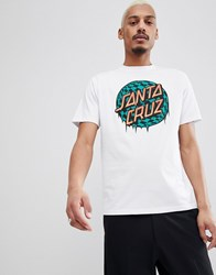 Santa Cruz T Shirt With Check Waist Dot Logo In White