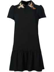 Red Valentino Applique Bird Dress Black