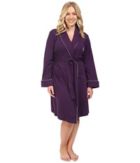 Lauren Ralph Lauren Plus Size Essentials Quilted Collar And Cuff Robe Eggplant Women's Robe Purple
