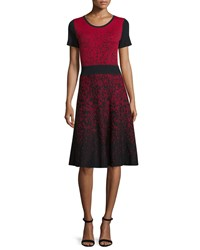 Carmen By Carmen Marc Valvo Short Sleeve Ombre Fit And Flare Dress Black Red Black Red