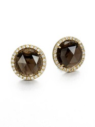 Mija Smoky Topaz And White Sapphire Button Earrings Gold Smoky Topaz