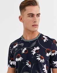 Ted Baker T Shirt With Daisy Print In Navy