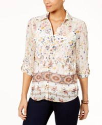 Style And Co Petite Mixed Print Roll Tab Sleeve Shirt Created For Macy's Floral Wave