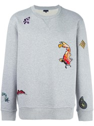Lanvin Embroidered Fish Detail Sweatshirt Grey