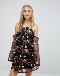 Kiss The Sky Cold Shoulder Swing Dress With Sheer Sleeves And Floral Embroidery Black Multi