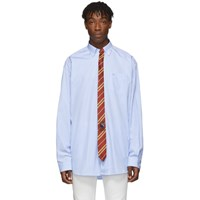 Vetements Blue And White Stripe Tie Shirt