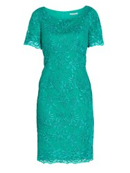 Gina Bacconi Embroidered Corded Mesh Dress Green