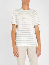 Gieves And Hawkes Rope Stripe Cotton Jersey T Shirt White