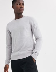 French Connection Plain Logo Crew Neck Knit Jumper Grey