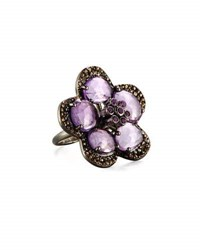 Bavna Amethyst And Diamond Flower Cocktail Ring Size 5