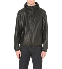 Salvatore Ferragamo Reversible Hooded Leather Jacket Black