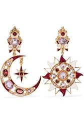 Percossi Papi Gold Plated And Enamel Multi Stone Earrings Red