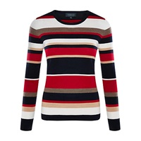 Viyella Striped Merino Jumper Red