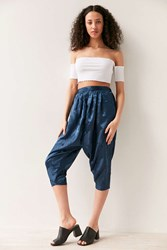 Silence And Noise Irina Pleated Drop Crotch Floral Pant Navy