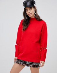 Liquorish Long Jumper With Front Pockets And Lacing Detail On Sleeves Red