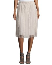 Brunello Cucinelli Pleated Tulle Cotton Skirt Tan