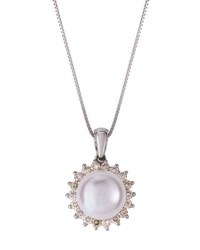 Belpearl 14K White Gold Freshwater Pearl And Diamond Pendant Necklace 9Mm