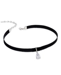 Danori Silver Tone Crystal Teardrop Black Ribbon Choker Necklace