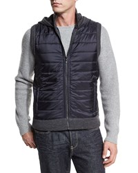 Michael Kors Hooded Nylon Puffer Vest Charcoal Grey