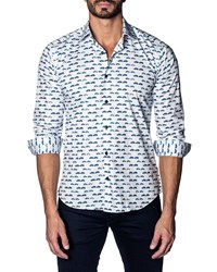 Jared Lang Modern Fit Cars Long Sleeve Shirt White