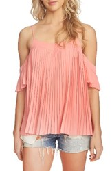 1.State Women's Pleated Off The Shoulder Top Coral Gem