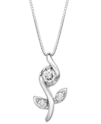 Sirena Rose Pendant Necklace In 14K White Gold 1 4 Ct. T.W.