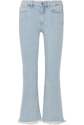 Mih Jeans M.I.H Lou Cropped Frayed High Rise Flared Light Denim