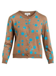 Isa Arfen Flocked Polka Dot Wool Cardigan Blue Multi