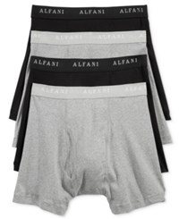 Alfani Men's 4 Pack. Cotton Boxer Briefs Only At Macy's Black Grey